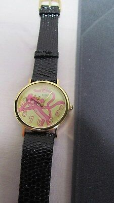 Vintage Armitron Pink Panther Watch, Leather Band, NIB 1990 NEW