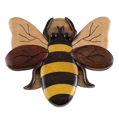 "Wood Intarsia Bee Bumblebee Magnet Handcrafted 2.75"" Wide New!"