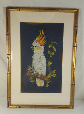 White Cockatoo Cross Stitch In Hollywood Regency Gilded Faux Bamboo Frame