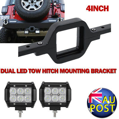 """Universal Tow Hitch Dual Mounting Brackets + 2X4"""" 30W CREE Flood Beam Boat Lamps"""