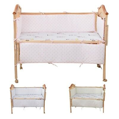 4PCS Baby's Crib Soft Bumpers Infant Bedding Cot Cradle Protector Pad Detachable