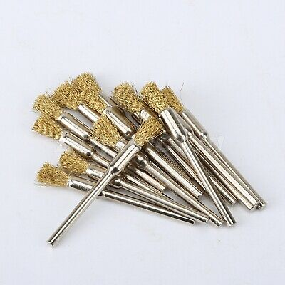 UK 5mm Wire Rotary Pencil Polising Wheel Brass Brushes for Drill Power Tool 15PC