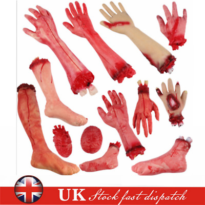 Halloween Bloody Severed Body Parts Prop Fake Latex Hand Arm Leg Foot Fingers UK