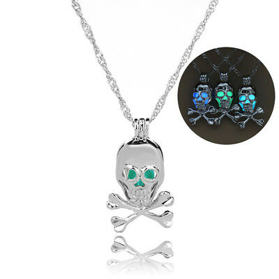 Men Women Luminous Skull Head Owl Glow in the Dark Pendant Necklace Jewelry BS
