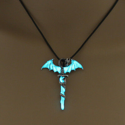 Punk Men Luminous Glow in the Dark Dragon Sword Necklace Pendant Jewelry BS