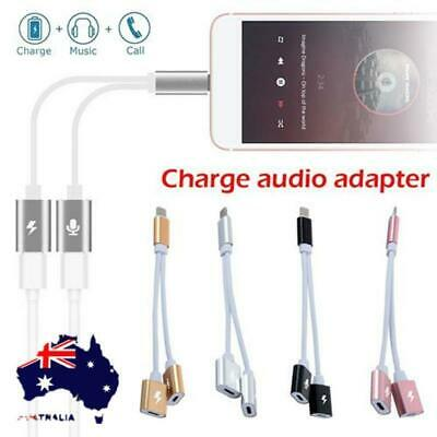 Audio Dual-Lightning Cable Splitter Dongle Adapter For Apple iPhone X 7 8 Plus