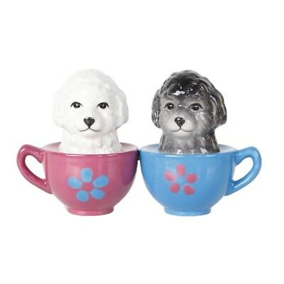 Maltese Puppy in Teacup Kiss Magnetic Ceramic Salt & Pepper Shakers Figurine
