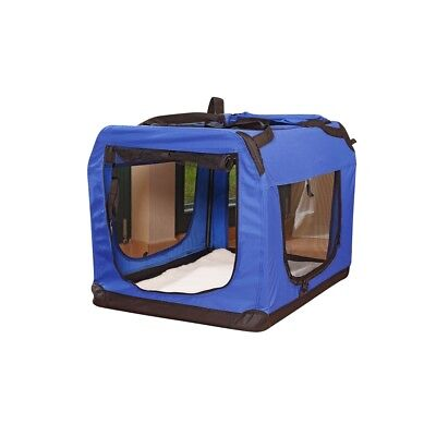 Hundetransportbox Faltbare Transportbox für Tiere Hundebox 81x59x59 cm blau M01