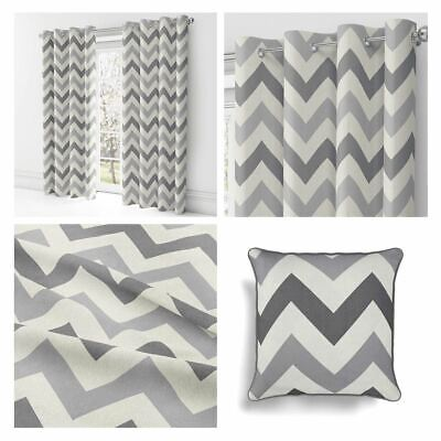 Grey Eyelet Curtains Chevron Zig Zag Ready Made Lined Ring Top Curtain Pairs 5 95 Picclick Uk