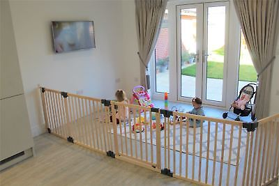Safetots Premium Wooden Multi Panel Wide Baby Safety Gate Flexible Room Divider