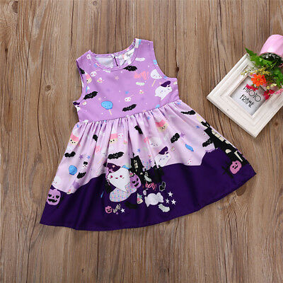 Toddler Girl's Halloween Sleeveless Purple Dress Size 2-6T (Free Shipping)
