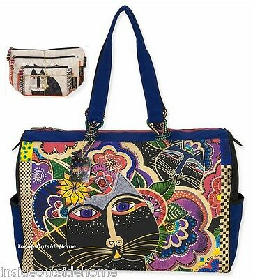 Laurel Burch Carlottas Cat in Garden TRAVEL Tote Sport Beach 3pc Makeup Bag Set