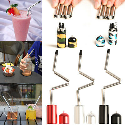 2018 New Collapsible Reusable Portable Stainless Straw Travel Outdoor Straw US