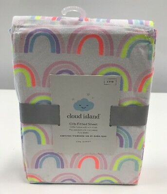 Cloud Island Rainbow Pattern Fitted Crib Sheet Heart Toddler New