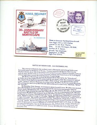 FDC  ROYAL NAVY - HMS BELFAST- 30th annv Battle of North Cape 1943