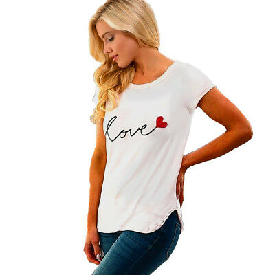 Women Casual Heart Love Printed O-Neck Short Sleeve Solid T-Shirt Top Z