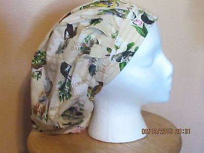 State Birds On Bouffant Nurses Scrub Hat, Chemo, Surgery Tech