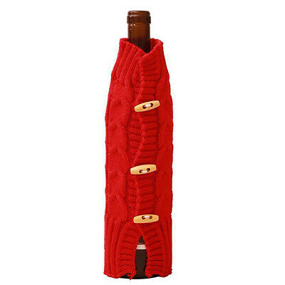 Knit Sweater Wine Bottle Cover Bag Gift Wrap Holiday Christmas Elements Decor LD