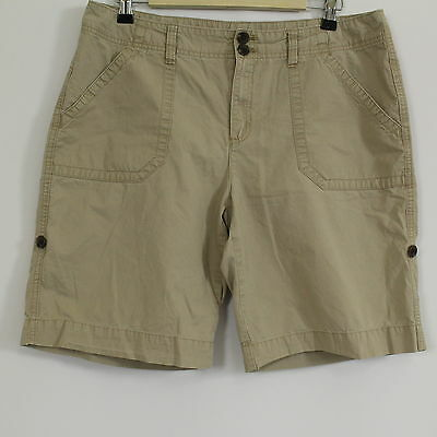 BASS Beige 100% Cotton Roll UP Camping Outdoor Shorts Womens Size 12