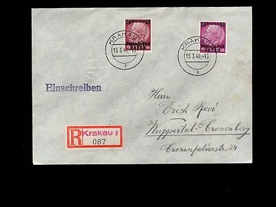 Germany General Government Registered Overprint Hindenburg Krakau 1940 Cover 3k