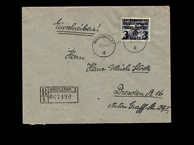 Germany General Government Poland Registered Warsaw Uncommon 1940 Cover 3k