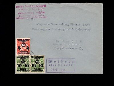 Germany General Government Wolborz uber Petrikau State Property 1940 Cover 3k