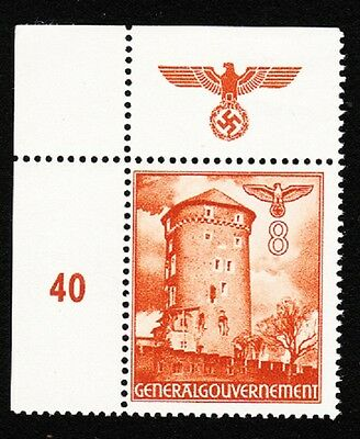 Germany WWII Occupied Poland 1940 Buildings Eagle Swastika # Selvage 8gr MH K