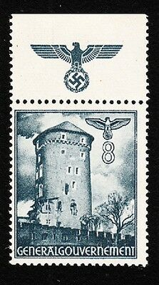 Germany WWII Occupied Poland 1940 Buildings Eagle Swastika Selvage 8gr MNH K