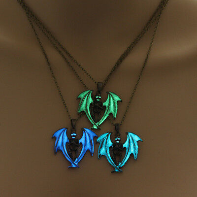 Fashion Dragon Pendant Glow in the Dark Luminous Phosphor Amulet Necklace S