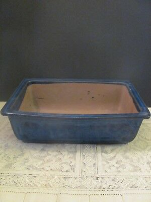 #137 Vintage Japanese Pottery Bonsai Pot Rectangle Blue Glazed