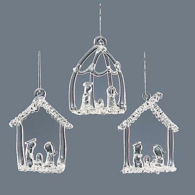 Christmas Tree Decoration 3 Pack Glass Nativity Scene