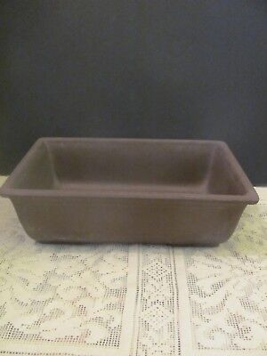 #138 Vintage Japanese Pottery Bonsai Pot Rectangle Brown UnGlazed