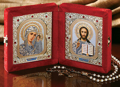 Christ the Teacher Madonna and Child Catholic Orthodox Russian Icon Diptych