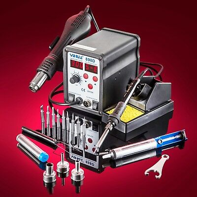Genuine YiHua® 898D Hot Air Rework Soldering Iron Station with 10 Solder Tips!