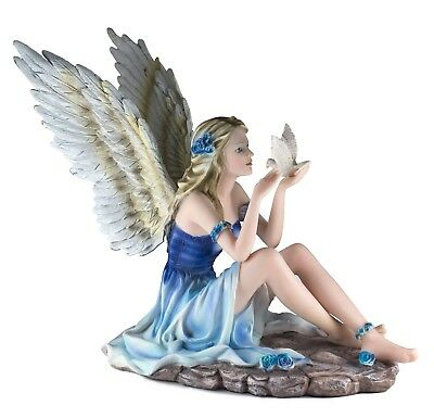 """Blue Fairy Figurine Statue With White Dove Bird 10.5"""" High Resin New In Box!"""