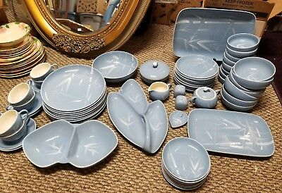 Winfield China BLUE PACIFIC RARE LOT 68PC Vintage Mid century BAMBOO SET