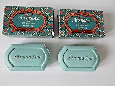 Vtg Avon Lot Set 2 Aroma Spa Bar Soap In Box Natural Herbs Storage Imperfections