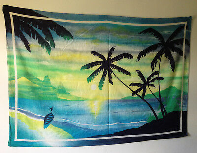 RARE VINTAGE 1980s JACQUES ROLLET SIGNED TROPICAL WALL HANGING WALL ART SARONG