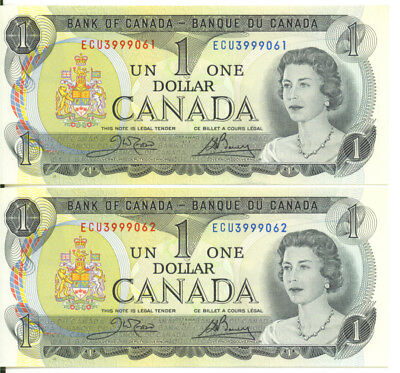 Bank of Canada 1973 $1 One Dollar Consecutive Pair UNC Crow-Bouey