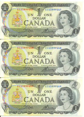 Bank of Canada 1973 $1 One Dollar Lot of 3 Consecutive Notes Choice UNC