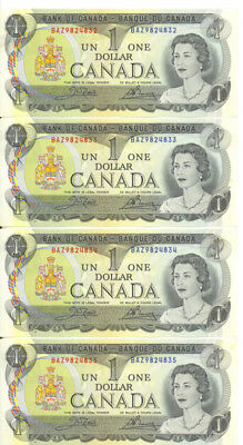 Bank of Canada 1973 $1 One Dollar Lot of 4 Consecutive Notes AU+/ UNC