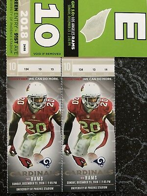 2 Tickets AZ Cardinals v LA RAMS Sec 134 Row 13 December 23 w/Parking 12/23