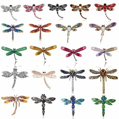 Fashion Crystal Pearl Animal Dragonfly Brooch Pin Women Custome Jewelry Gift New