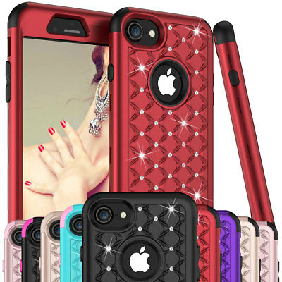 For Apple iPhone 6 6s 7 8 Plus Bling Shockproof Protective Rubber Hard Cute Case