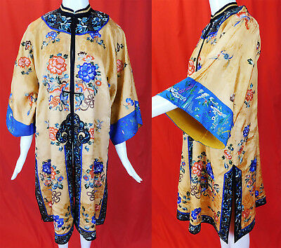 Antique Chinese Apricot Yellow Silk Colorful Embroidered Peony Long Robe Surcoat