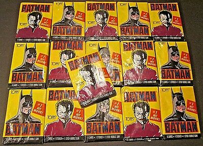 1989 TOPPS BATMAN 1# HIT MOVIE 1st Series 16 SEALED Wax Packs 8 Batman & 8 Joker