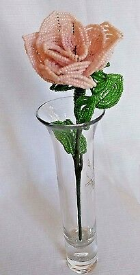 Lg Pink rose 9 inches Vintage Long Stem French Glass Hand Beaded Wire Flower #C