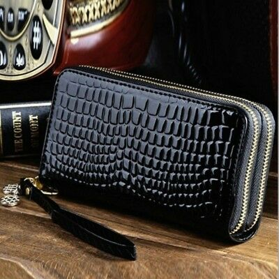 1*Women Wallets Leather Wallet Double Zipper Day Clutch Purse Wristlet Handbags