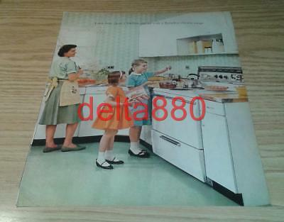 "1961 10"" x 13"" Original Color Print Ad ""Flameless Electric Range"" Mid Century"