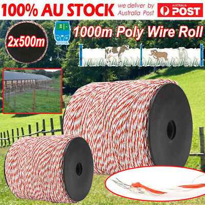Polyrope 1000m Roll Electric Fence Energiser Stainless Steel Polywire Insulator
